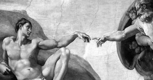 """Michelangelo, """"Erschaffung des Adam"""". Zum Rücktritt Papst Benedikts XVI."""
